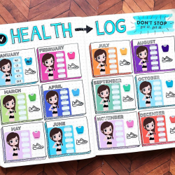 <b>Health Log by Michelle at QuirkyHeart</b></br>I love this idea and definitely want those stickers.